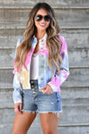 Sunset Walks Tie Dye Denim Jacket - Multi Women's tie-dye denim jacket featuring basic collar, long sleeves, button closure at front and at cuffs, and chest pockets with flap and button closure closet candy front 2