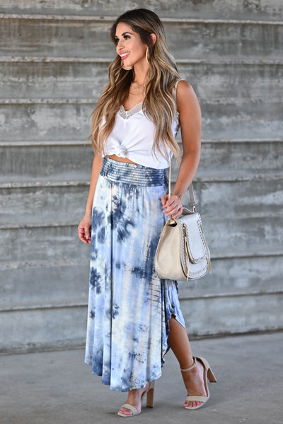 Desert Days Tie Dye Maxi Skirt - Navy women's high-rise maxi skirt featuring smocked waistband and rounded split hem design closet candy side