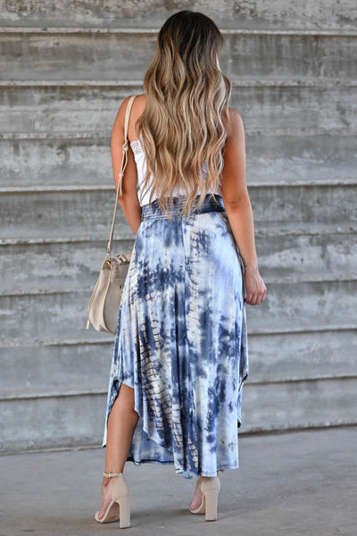 Desert Days Tie Dye Maxi Skirt - Navy women's high-rise maxi skirt featuring smocked waistband and rounded split hem design closet candy back