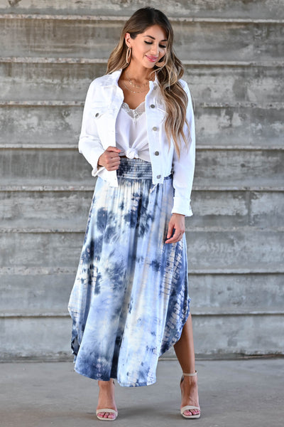 Desert Days Tie Dye Maxi Skirt - Navy women's high-rise maxi skirt featuring smocked waistband and rounded split hem design closet candy front 3