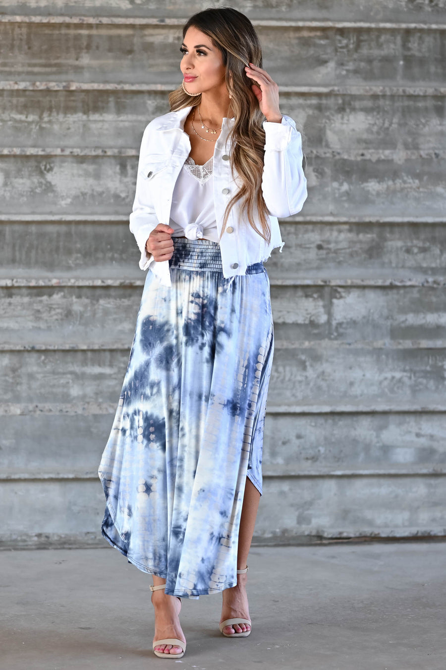 Desert Days Tie Dye Maxi Skirt - Navy women's high-rise maxi skirt featuring smocked waistband and rounded split hem design closet candy front