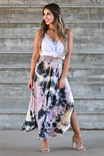 Desert Days Tie Dye Maxi Skirt - Mauve women's high-rise maxi skirt featuring smocked waistband and rounded split hem design closet candy front 3