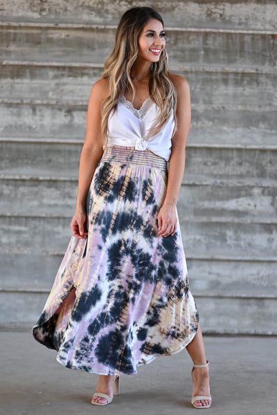 Desert Days Tie Dye Maxi Skirt - Mauve women's high-rise maxi skirt featuring smocked waistband and rounded split hem design closet candy front 2