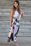 Desert Days Tie Dye Maxi Skirt - Mauve women's high-rise maxi skirt featuring smocked waistband and rounded split hem design closet candy side
