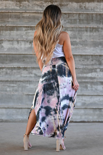 Desert Days Tie Dye Maxi Skirt - Mauve women's high-rise maxi skirt featuring smocked waistband and rounded split hem design closet candy back