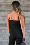 Scottsdale Nights Bodysuit - Black omen's lace bodysuit featuring adjustable spaghetti straps and surplice bodice with snap button closure closet candy back