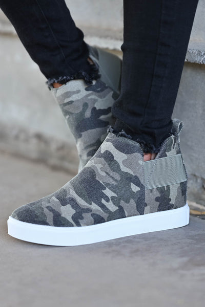 Gone For Now Wedge Sneakers - Camo omen's wedge slip-on sneakers with elastic band and cutout details at sides. A wedge sole hides under the sneaker's casual exterior, creating an ultra-flattering limb-lengthening illusion closet candy side 3