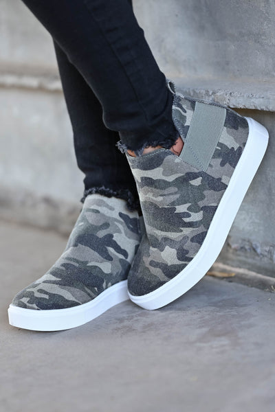 Gone For Now Wedge Sneakers - Camo omen's wedge slip-on sneakers with elastic band and cutout details at sides. A wedge sole hides under the sneaker's casual exterior, creating an ultra-flattering limb-lengthening illusion closet candy side 5