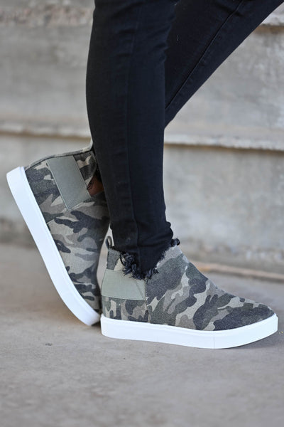 Gone For Now Wedge Sneakers - Camo omen's wedge slip-on sneakers with elastic band and cutout details at sides. A wedge sole hides under the sneaker's casual exterior, creating an ultra-flattering limb-lengthening illusion closet candy side 4