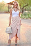 Do a Happy Dance Skirt - Dusty Rose women's high-low wrap maxi skirt featuring ruffled hem and button closure at waist. Lined closet candy front