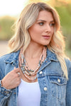 The More The Better Necklace - Rose women's beaded statement necklace with clasp closure closet candy front