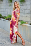 Let Them Hear You Tie Dye Maxi Dress - Berry women's short sleeve maxi dress featuring v-neckline, side pockets, and rounded bottom hem with side slit design. Made in the USA closet candy side