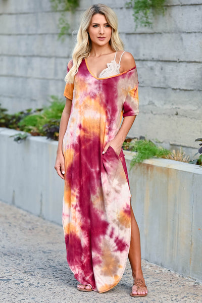 Let Them Hear You Tie Dye Maxi Dress - Berry women's short sleeve maxi dress featuring v-neckline, side pockets, and rounded bottom hem with side slit design. Made in the USA closet candy front 3