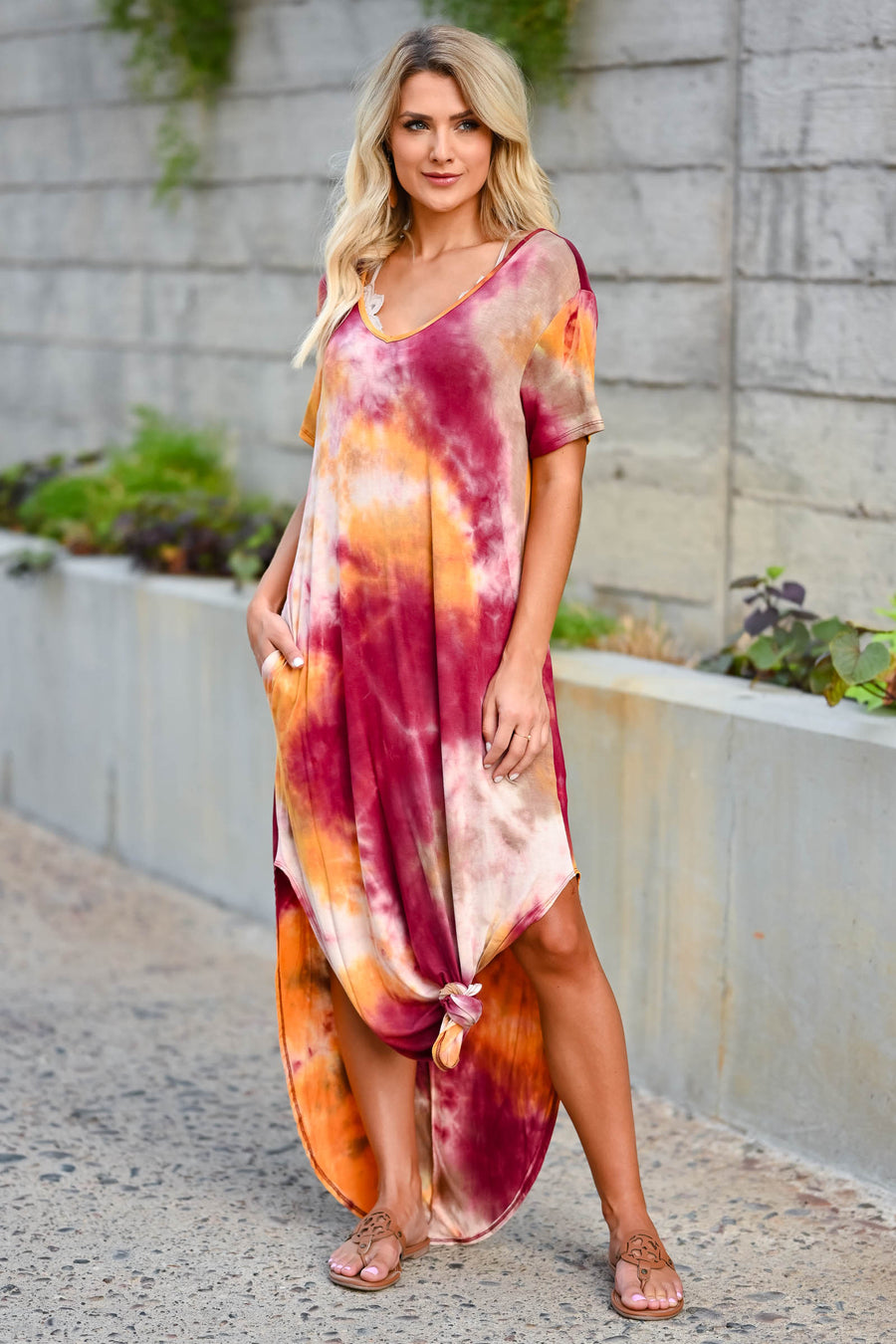 Let Them Hear You Tie Dye Maxi Dress - Berry women's short sleeve maxi dress featuring v-neckline, side pockets, and rounded bottom hem with side slit design. Made in the USA closet candy front