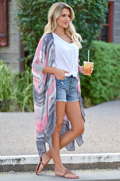 Meet You In Paradise Kimono - Pink & Grey women's open front kimono with watercolor design and side split hem. One size fits most closet candy side