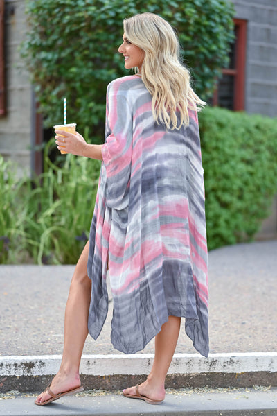 Meet You In Paradise Kimono - Pink & Grey women's open front kimono with watercolor design and side split hem. One size fits most closet candy back