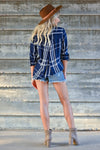 THREAD & SUPPLY Catch My Drift Top - Navy women's plaid button-up top featuring basic collar, high-low hem design, pleated crossover detail at back, and long sleeves with button cuff and roll tab option closet candy back