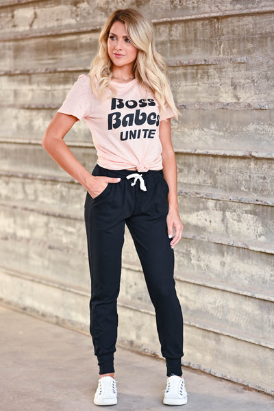 """Boss Babes Unite"" Graphic Tee - Peachy & Black women's short sleeve tee with black ""Boss Babes Unite"" graphic on front round neck closet candy front"