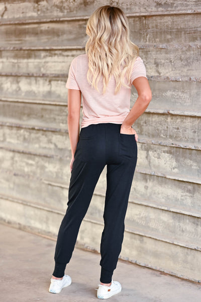 CBRAND At Peace Joggers - Black CBRAND, black, women's knit joggers featuring elastic drawstring waistband, banded hem, side pockets, and back pockets closet candy back