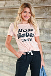 """Boss Babes Unite"" Graphic Tee - Peachy & Black women's short sleeve tee with black ""Boss Babes Unite"" graphic on front round neck closet candy close up"