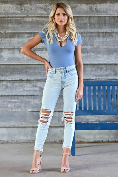 Peyton Cropped Distressed Jeans - Light Wash women's distressed jeans featuring cropped length, distressed raw hem, classic 5-pocket design, and zipper fly with button closure closet candy outfit 2