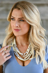 The More The Better Necklace - Ivory women's beaded statement necklace with clasp closure closet candy front