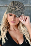 Just Spotted Hat - Leopard women's baseball style hat with slight distressing and adjustable strap at back. One size fits most closet candy front 3