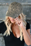 Just Spotted Hat - Leopard women's baseball style hat with slight distressing and adjustable strap at back. One size fits most closet candy front 2