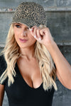 Just Spotted Hat - Leopard women's baseball style hat with slight distressing and adjustable strap at back. One size fits most closet candy front