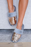 Year Round Comfort Sequin Slippers - Grey women's indoor slippers with reversible sequin design, rubber sole, and comfortable, cushioned insole. Sequins are reversible between rose gold and silver closet candy front