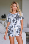 Stormy Skies Tie Dye Loungewear - Ivory & Charcoal Women's tie-dye loungewear top and shorts. Top features short sleeves and round neckline with raw edge detailing. Matching lounge shorts feature side pockets and elastic waistband with decorative self-tie detail. Fabric is soft and comfortable closet candy close up 3