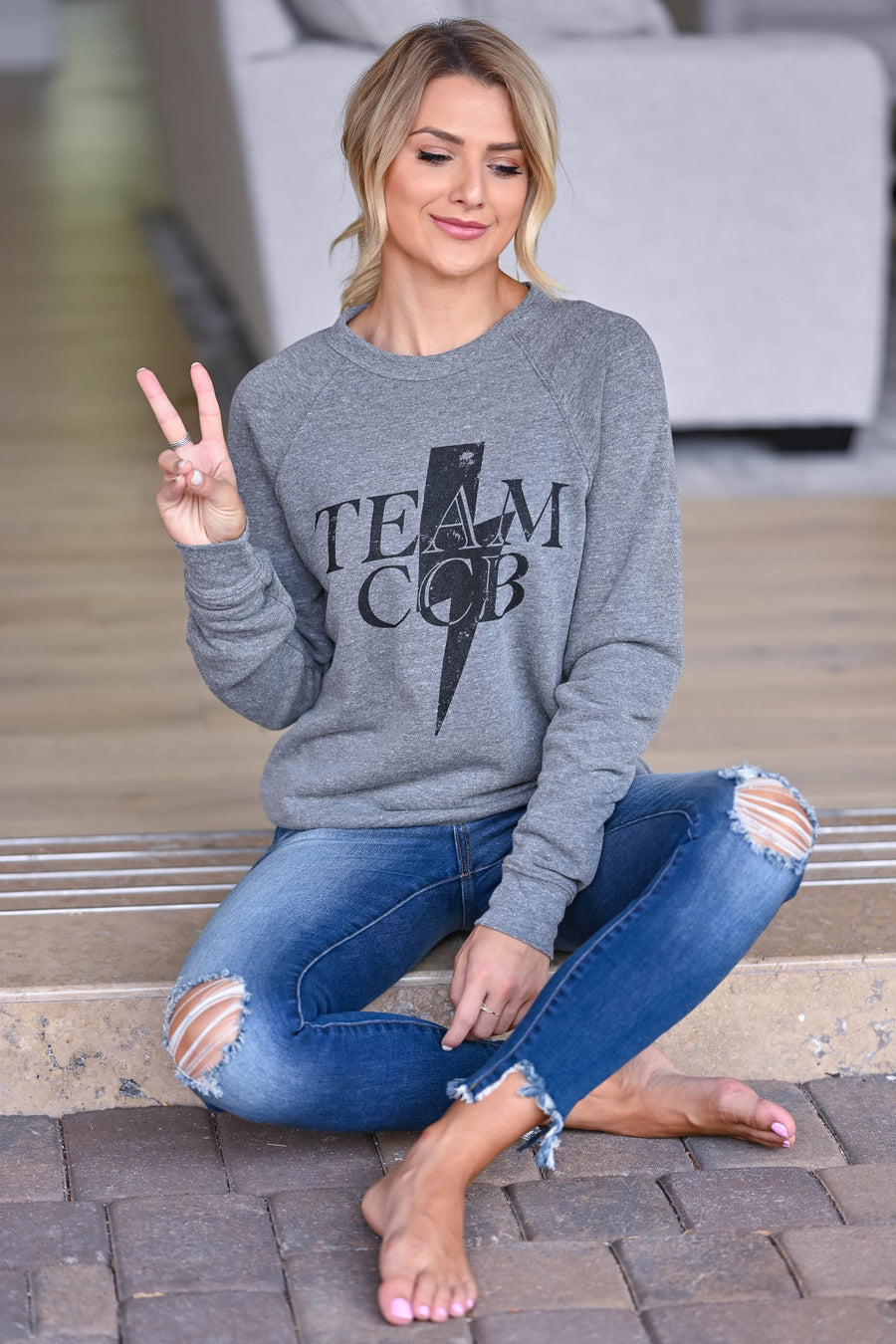 Team CCB Lightning Sweatshirt - Grey women's closet candy swag 1