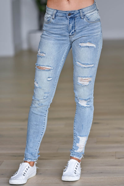 CELLO Stacey Distressed Skinny Jeans - Light Wash ello, light wash, women's distressed skinny jeans featuring classic 5-pocket design and zipper fly with button closure. Mid-rise style closet candy front 2