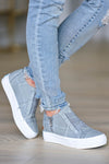 Walk That Way Wedge Sneaker - Grey women's wedge sneakers featuring elastic ribbon design, exposed seam details, side zipper, and padded insole. A wedge sole hides under the sneaker's casual exterior, creating an ultra-flattering limb-lengthening illusion closet candy side 2