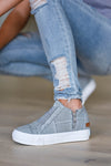 Walk That Way Wedge Sneaker - Grey women's wedge sneakers featuring elastic ribbon design, exposed seam details, side zipper, and padded insole. A wedge sole hides under the sneaker's casual exterior, creating an ultra-flattering limb-lengthening illusion closet candy side