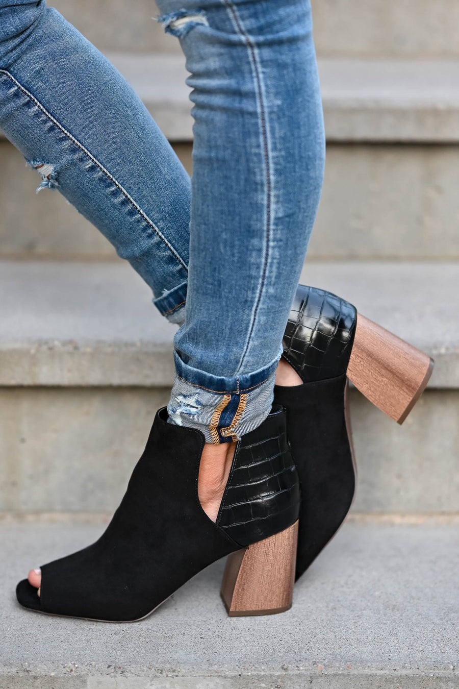 Step On Out Peep Toe Booties - Black women's peep toe booties featuring textured contrast, side cutout details, and chunky block heel with wooden appearance closet candy side