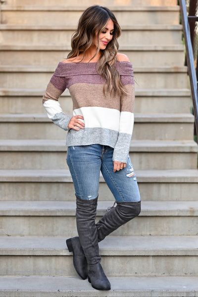 Here For The Season Sweater - Plum women's off-the-shoulder sweater featuring side split hem and ribbed trim at neckline, cuffs, and hem closet candy front 2