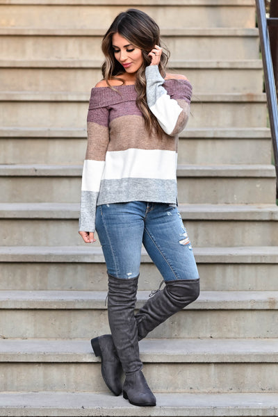 Here For The Season Sweater - Plum women's off-the-shoulder sweater featuring side split hem and ribbed trim at neckline, cuffs, and hem closet candy front