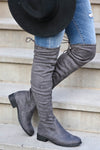 Gabby Over The Knee Boots - Grey Women's grey, vegan suede, over-the-knee boots featuring short heel, partial inside zipper, and adjustable drawstring at back closet candy side 2