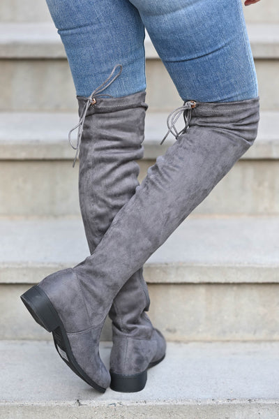 Gabby Over The Knee Boots - Grey Women's grey, vegan suede, over-the-knee boots featuring short heel, partial inside zipper, and adjustable drawstring at back closet candy back