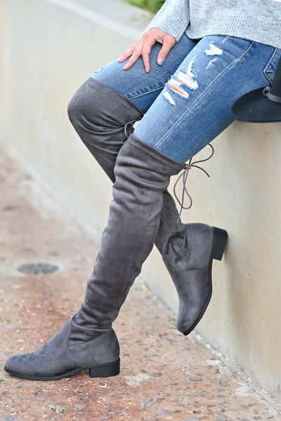 Gabby Over The Knee Boots - Grey Women's grey, vegan suede, over-the-knee boots featuring short heel, partial inside zipper, and adjustable drawstring at back closet candy side
