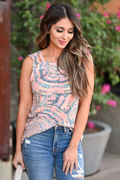 Almost Ready Tank Top - Blush women's knit tank top featuring halter neckline and criss-cross design at shoulders closet candy close up