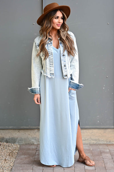 Own It Raw Hem Denim Jacket - Light Acid Wash Women's light acid wash denim jacket featuring basic collar, long sleeves, raw hem design, button closure at front and cuffs, and chest pockets with flap button closure closet candy outfit