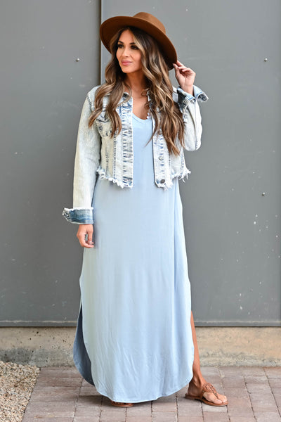 I'll Be By The Pool Maxi Dress - Sky Blue women's maxi dress featuring v-neckline, short dolman sleeves, side pockets, and rounded bottom hem with side slit detail closet candy front 3