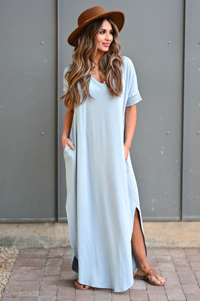 I'll Be By The Pool Maxi Dress - Sky Blue women's maxi dress featuring v-neckline, short dolman sleeves, side pockets, and rounded bottom hem with side slit detail closet candy front 2