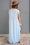 I'll Be By The Pool Maxi Dress - Sky Blue women's maxi dress featuring v-neckline, short dolman sleeves, side pockets, and rounded bottom hem with side slit detail closet candy back