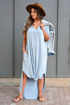 I'll Be By The Pool Maxi Dress - Sky Blue women's maxi dress featuring v-neckline, short dolman sleeves, side pockets, and rounded bottom hem with side slit detail closet candy front 4