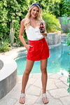 Watermelon Margarita Shorts - Red - Paper Bag waist shorts with pockets - Closet Candy Boutique - Full Outfit View