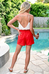 Watermelon Margarita Shorts - Red - Paper Bag waist shorts with pockets - Closet Candy Boutique - Back View