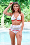 Cabana Life Bikini - Stars and Stripes women's triangle top, high-waisted mesh swimsuits, Closet Candy Boutique - Close up